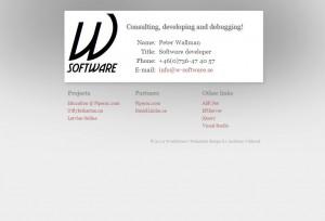Bild på första versionen av www.W-Software.se